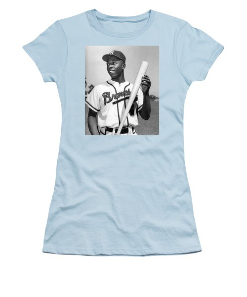 Hank Aaron Poster Women's T-Shirt (Athletic Fit)