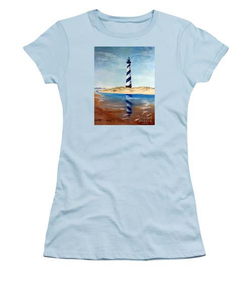 Women's T-Shirt (Junior Cut) featuring the painting Hatteras Lighthouse by Lee Piper