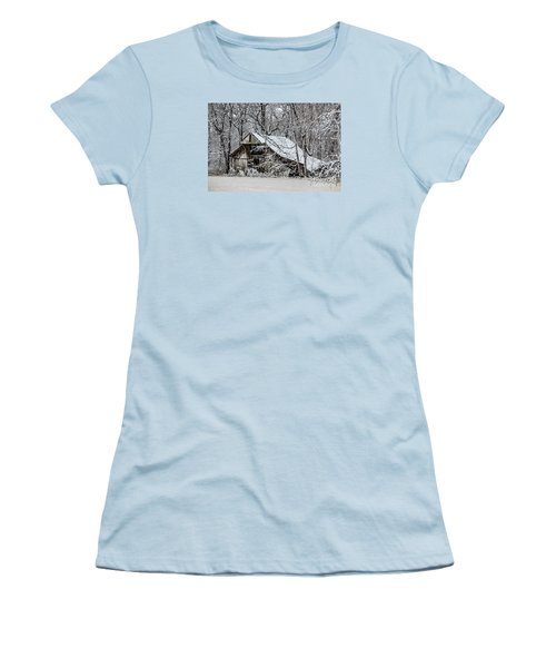Women's T-Shirt (Junior Cut) featuring the photograph Hay Barn In Snow by Debbie Green