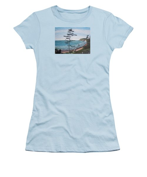 Hay Stack Rock From The South On The Oregon Coast Women's T-Shirt (Junior Cut) by Ian Donley