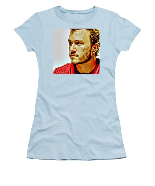 Heath Ledger Portrait Women's T-Shirt (Junior Cut) by Florian Rodarte