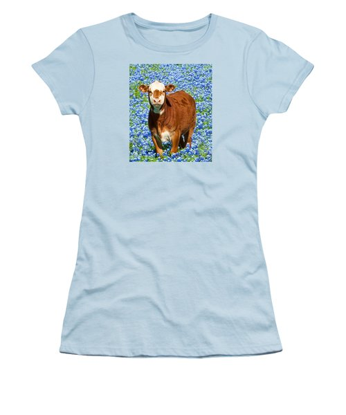 Heres Looking At You Kid - Calf With Bluebonnets In Texas Women's T-Shirt (Junior Cut) by David Perry Lawrence