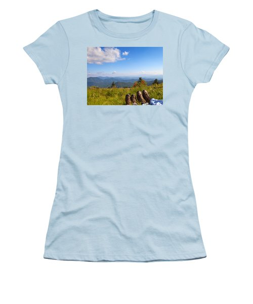 Hikers With A View On Round Bald Near Roan Mountain Women's T-Shirt (Junior Cut) by Melinda Fawver