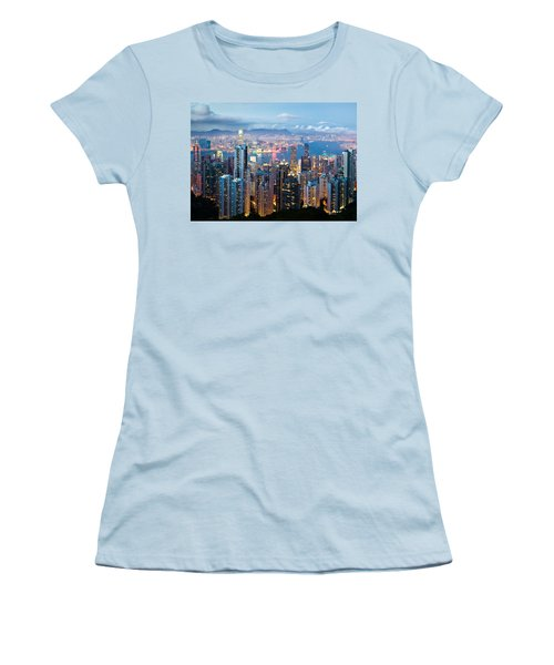 Hong Kong At Dusk Women's T-Shirt (Athletic Fit)