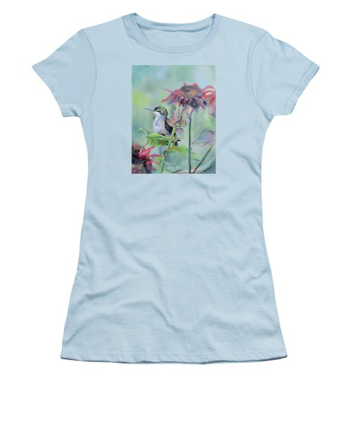 Hummingbird And Coneflowers Women's T-Shirt (Athletic Fit)