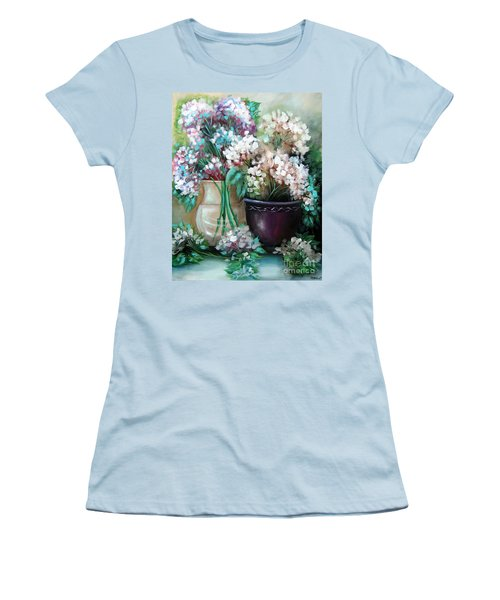 Women's T-Shirt (Junior Cut) featuring the painting Hydrangea Melody by Patrice Torrillo