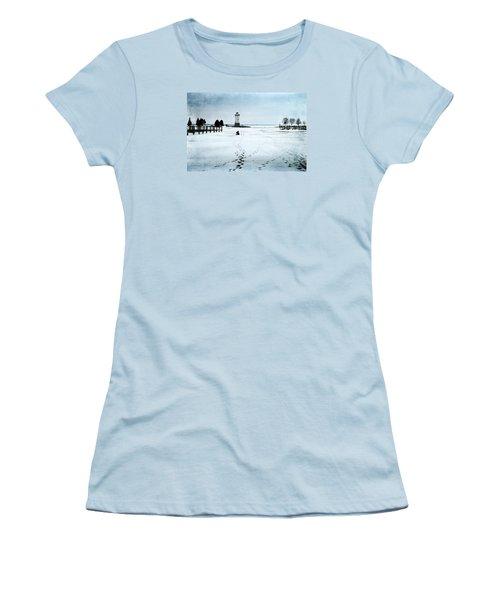 Ice Fishing Solitude 2 Women's T-Shirt (Junior Cut) by Janice Adomeit