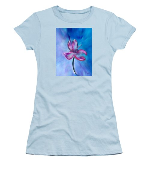 Women's T-Shirt (Junior Cut) featuring the digital art Iris In Pastel by Frank Bright