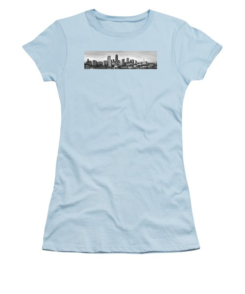 Women's T-Shirt (Junior Cut) featuring the photograph Jacksonville Skyline Morning Day Black And White Bw Panorama Florida by Jon Holiday