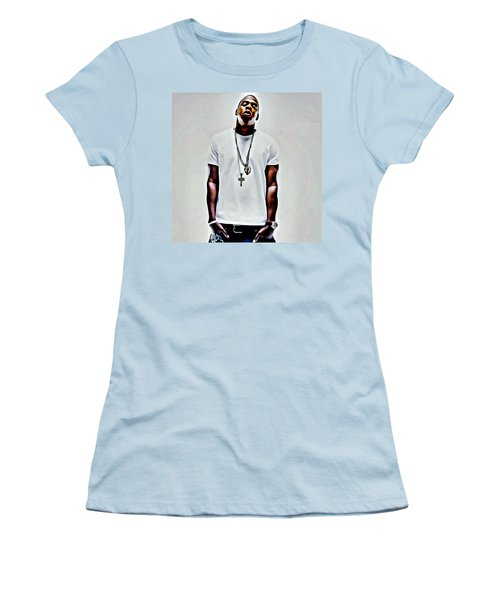 Jay-z Portrait Women's T-Shirt (Junior Cut) by Florian Rodarte