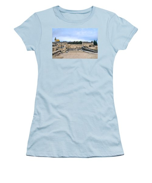 Jerusalem The Western Wall Women's T-Shirt (Junior Cut) by Ron Shoshani