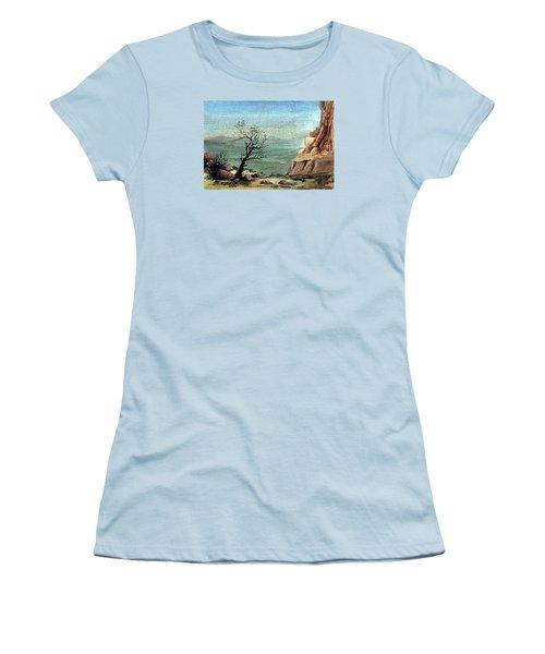 Women's T-Shirt (Junior Cut) featuring the painting Jordanian Valley by Mikhail Savchenko