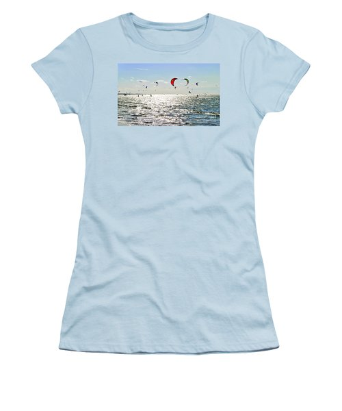 Women's T-Shirt (Junior Cut) featuring the photograph Kitesurfing In The Sun by Maja Sokolowska