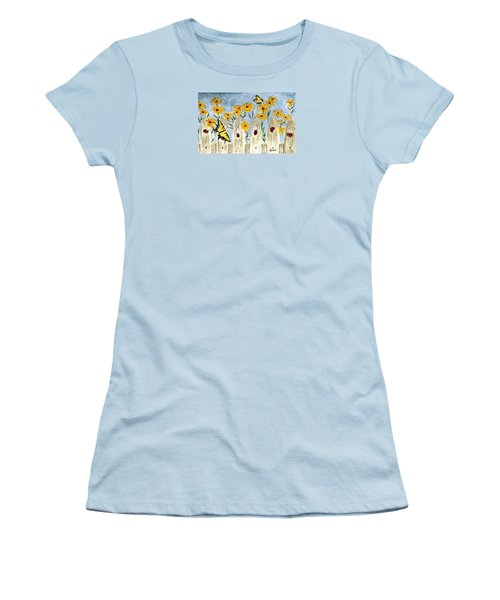 Women's T-Shirt (Junior Cut) featuring the painting Ladies In The Garden by Angela Davies