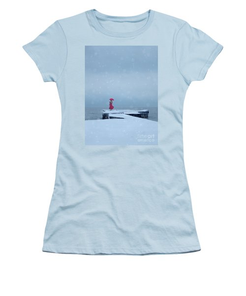 Lady In Red On Snowy Pier Women's T-Shirt (Athletic Fit)