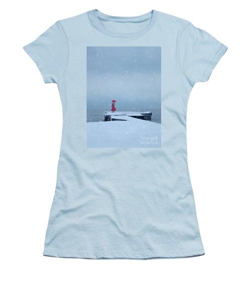 Lady In Red On Snowy Pier Women's T-Shirt (Junior Cut) by Jill Battaglia