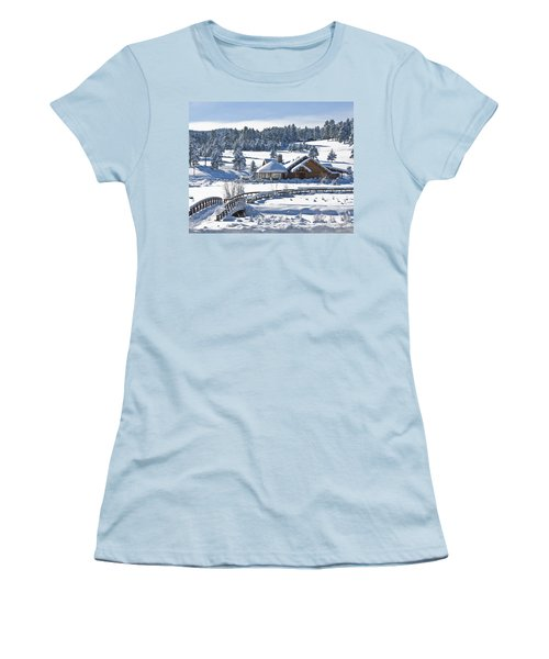 Lake House In Snow Women's T-Shirt (Junior Cut) by Ron White