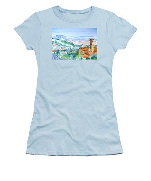 Tuscany Valley  Medieval Village Of Massa Women's T-Shirt (Junior Cut) by Trudi Doyle