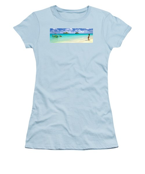 Women's T-Shirt (Junior Cut) featuring the photograph Lanikai Beach Paradise 3 To 1 Aspect Ratio by Aloha Art