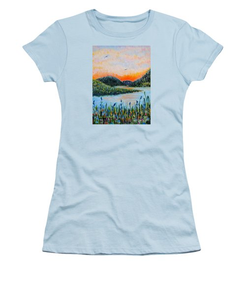Women's T-Shirt (Junior Cut) featuring the painting Lazy River by Holly Carmichael