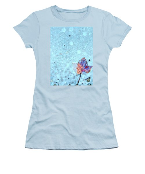Leaf In Ice Women's T-Shirt (Junior Cut) by Todd Breitling