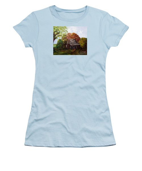 Women's T-Shirt (Junior Cut) featuring the painting Leaves On The Cabin Roof by Eloise Schneider