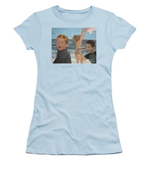 Women's T-Shirt (Junior Cut) featuring the painting Beach - Children Playing - Kite by Jan Dappen