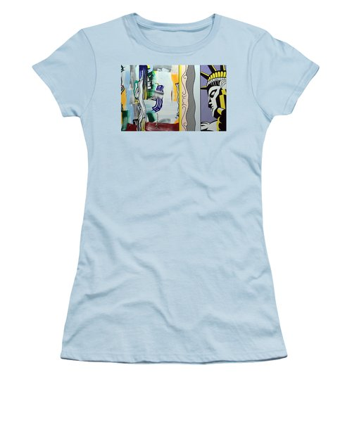 Lichtenstein's Painting With Statue Of Liberty Women's T-Shirt (Athletic Fit)