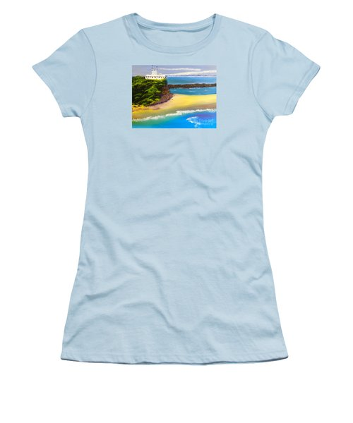 Women's T-Shirt (Junior Cut) featuring the painting Lighthouse At Nobbys Beach Newcastle Australia by Pamela  Meredith