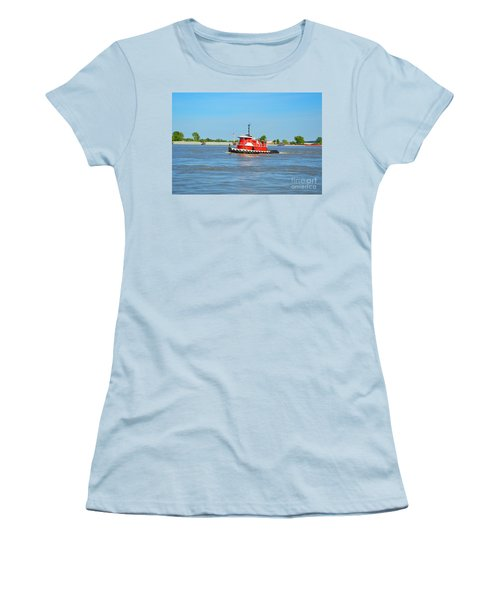 Little Red Boat On The Mighty Mississippi Women's T-Shirt (Athletic Fit)