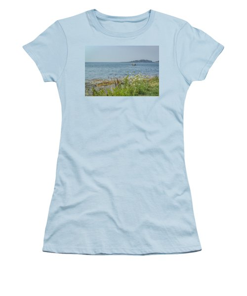 Women's T-Shirt (Junior Cut) featuring the photograph Lobster Boat At Rest by Jane Luxton
