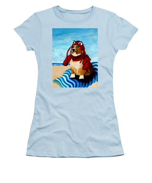 Lobster Corgi On The Beach Women's T-Shirt (Athletic Fit)