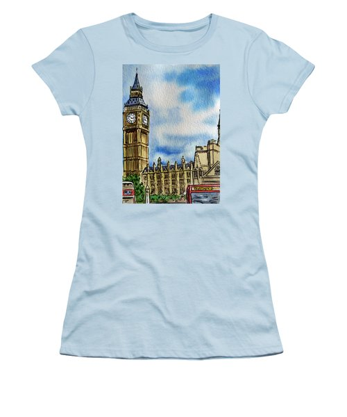 Women's T-Shirt (Athletic Fit) featuring the painting London England Big Ben by Irina Sztukowski