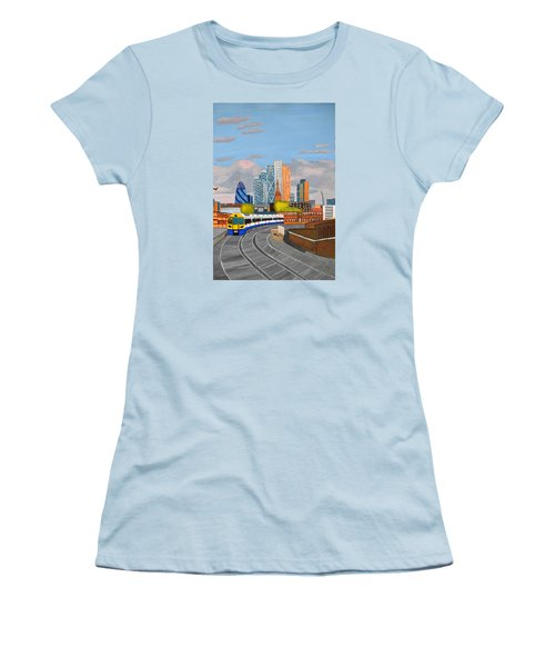 Women's T-Shirt (Junior Cut) featuring the painting London Overland Train-hoxton Station by Magdalena Frohnsdorff