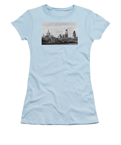 London Skyline Pencil Drawing Women's T-Shirt (Athletic Fit)