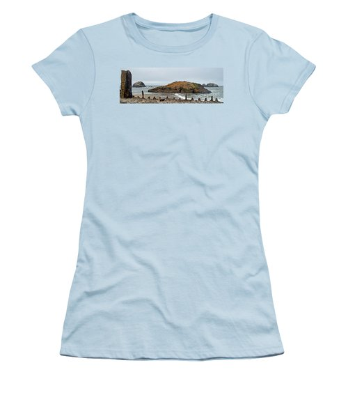 Women's T-Shirt (Junior Cut) featuring the photograph Looking Out On The Pacific Ocean From The Sutro Bath Ruins In San Francisco  by Jim Fitzpatrick