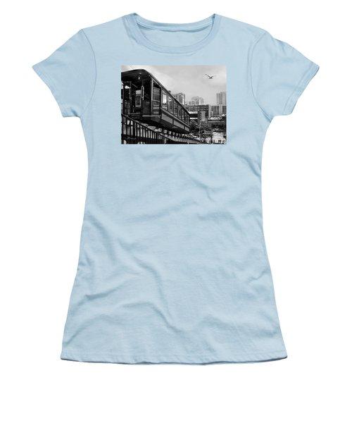 Los Angeles Angels Flight.bw Women's T-Shirt (Junior Cut) by Jennie Breeze