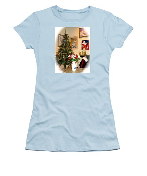 Love In Our Hearts And Santa In The Corner Women's T-Shirt (Junior Cut) by Phyllis Kaltenbach