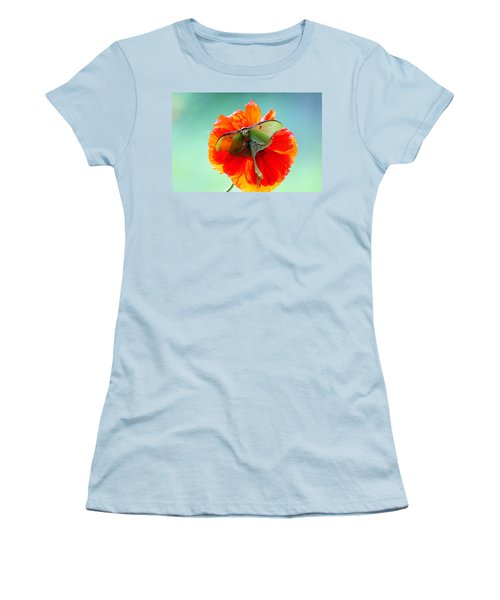 Luna Moth On Poppy Aqua Back Ground Women's T-Shirt (Athletic Fit)