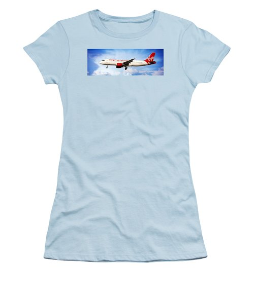 Women's T-Shirt (Athletic Fit) featuring the photograph Virgin America Mach Daddy - Rare by Aaron Berg