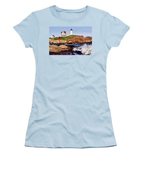 Maine's Nubble Light Women's T-Shirt (Junior Cut) by Mitchell R Grosky