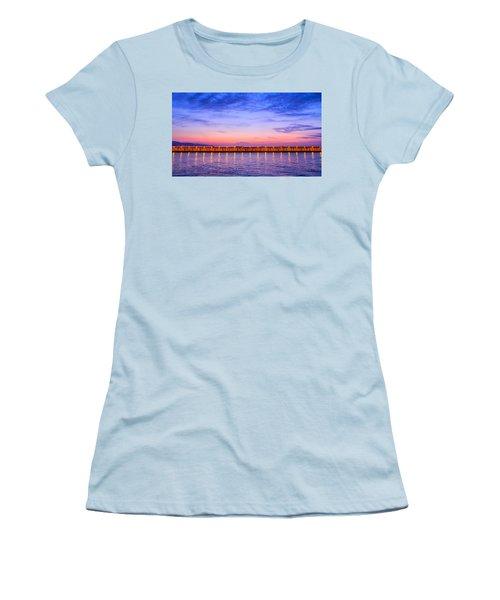 Women's T-Shirt (Junior Cut) featuring the photograph Malaga Pink And Blue Sunrise  by Debra Martz