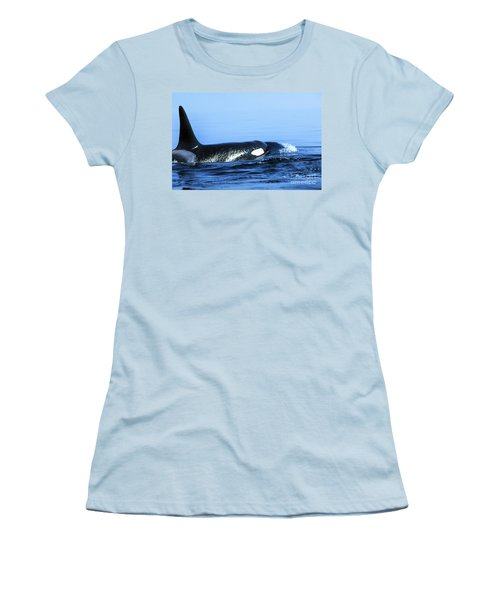 Women's T-Shirt (Junior Cut) featuring the photograph Male Orca Off The San Juan Islands Washington 1986 by California Views Mr Pat Hathaway Archives
