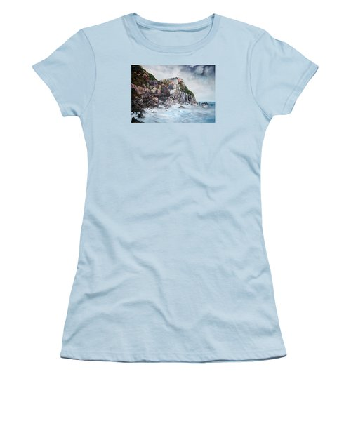Women's T-Shirt (Junior Cut) featuring the painting Manarola Italy by Jean Walker