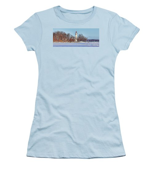 Marblehead Lighthouse In Winter Women's T-Shirt (Athletic Fit)