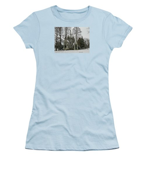 Women's T-Shirt (Junior Cut) featuring the photograph Mausoleum In Winter by Kathy Barney