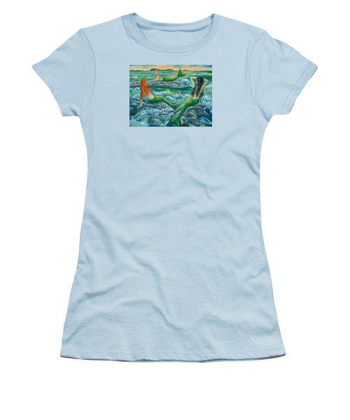 Mermaids On The Rocks Women's T-Shirt (Junior Cut) by Julie Brugh Riffey