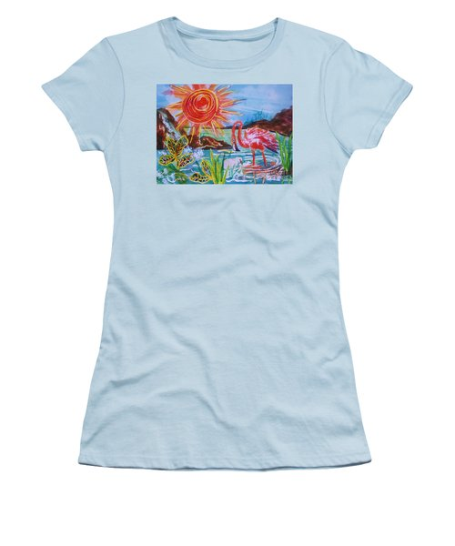 Momma And Baby Flamingo Chillin In A Blue Lagoon  Women's T-Shirt (Athletic Fit)