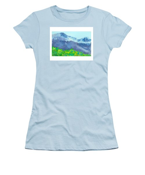 Women's T-Shirt (Junior Cut) featuring the painting Montana Mountain Mist by C Sitton