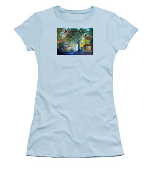 Women's T-Shirt (Junior Cut) featuring the painting Morning In Tuscany by Eloise Schneider
